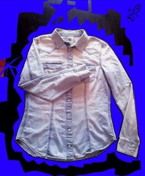 H&M Bluzka jeansowa niebieski neonowy