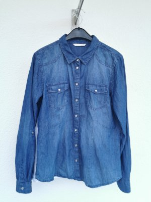 Vero Moda Jeansowa koszula stalowy niebieski Bawełna
