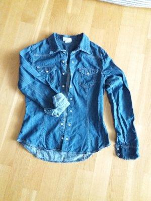 H&M Blusa denim blu acciaio
