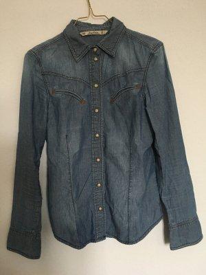 Zara Jeansowa koszula stalowy niebieski Bawełna