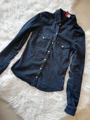 H&M Camicia denim blu scuro