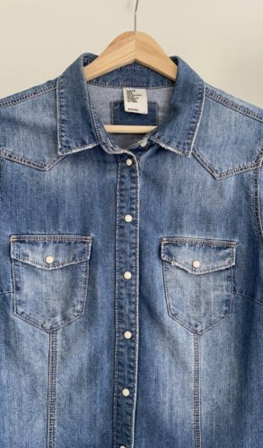 H&M Denim Shirt cornflower blue-steel blue