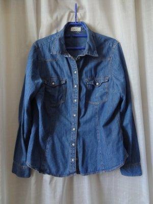 H&M Blouse en jean bleu acier coton