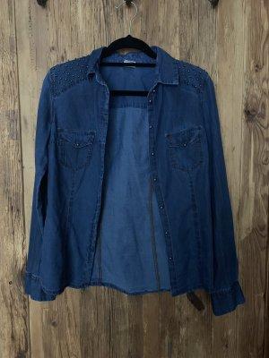 Bershka Spijkershirt blauw-donkerblauw