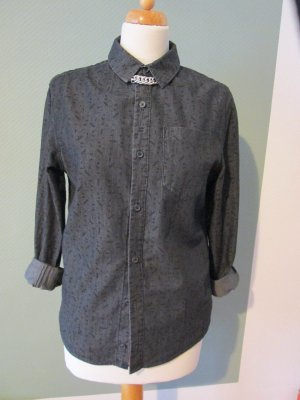 Jeanshemd Bluse Hemd schwarz mit Muster Gr. S Unisex