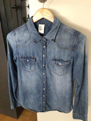 H&M Jeansowa koszula stalowy niebieski Bawełna