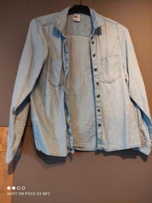 H&M Denim Shirt silver-colored-pale blue