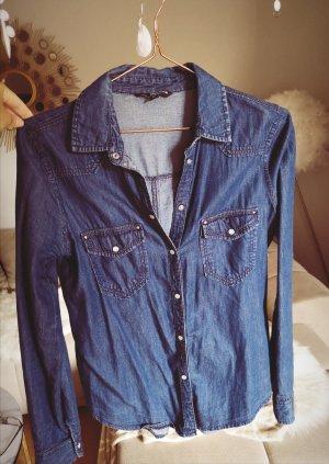 Tally Weijl Blouse en jean bleu acier-bleu fluo
