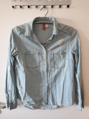Jeanshemd Hemd Bluse mit Rissen Gr. 38 H&M neuwertig!