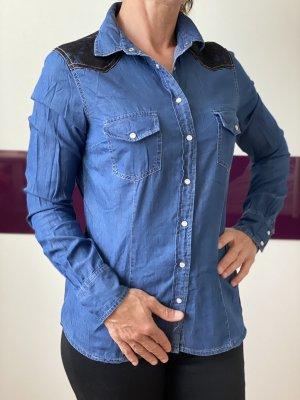 Jeanshemd Hemd mit spitzen Muster , gr 36