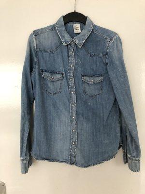 H&M DENIM Blouse en jean bleu acier