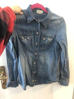 H&M Jeansowa koszula szary niebieski-niebieski