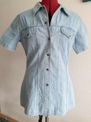 Via Leopardi Jeansowa koszula błękitny Bawełna