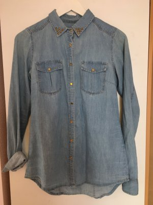 Pull & Bear Denim Shirt light blue