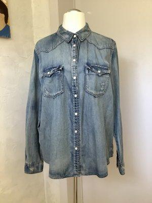Esprit Blouse en jean gris ardoise-gris clair coton