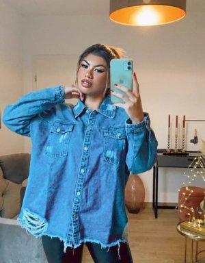 Boutique Comtesse Chemise en jean bleu fluo