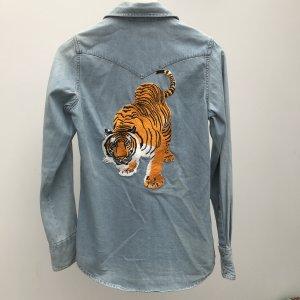 Jeanshemd mit Tiger Topshop