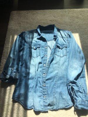 Only Jeansowa koszula chabrowy Bawełna