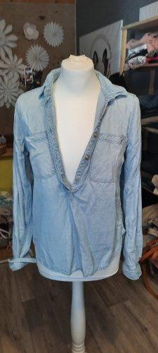 Only Blouse en jean bleu azur