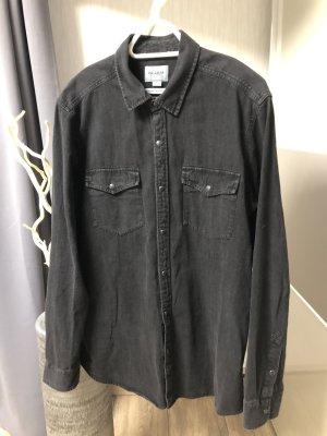 Pull & Bear Camicia denim grigio scuro-nero