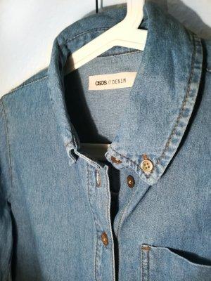 Asos Denim Chemise en jean bleu acier-bleuet coton