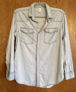 H&M Camicia a maniche lunghe azzurro Lyocell