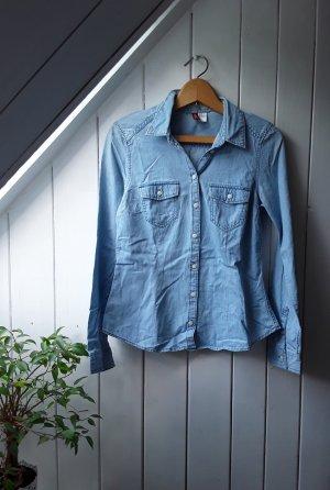 H&M Bluzka jeansowa błękitny-chabrowy