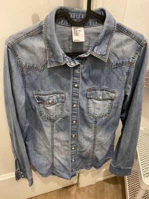 H&M DENIM Camicia denim blu