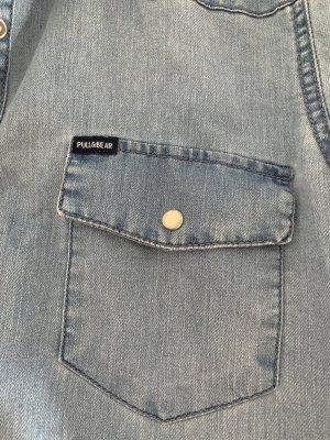 Pull & Bear Camicia denim azzurro-blu scuro