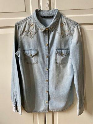 Zara Jeansowa koszula jasnoniebieski-niebieski
