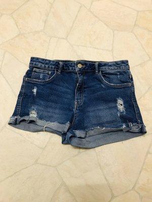 Zara Pantaloncino di jeans blu acciaio-blu fiordaliso