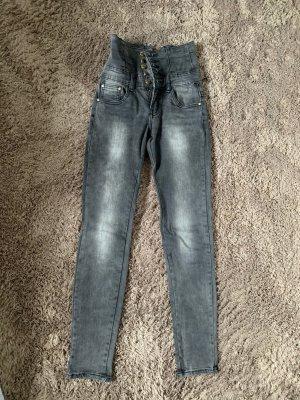 Jeansy z wysokim stanem szary