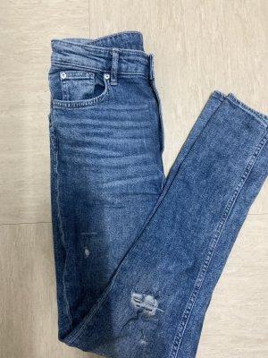 H&M Jeansy z wysokim stanem stalowy niebieski-chabrowy