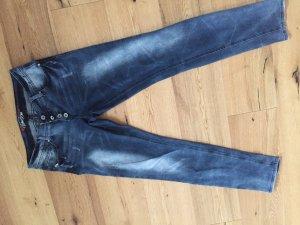 Blind Date Pantalon taille basse bleu foncé-blanc
