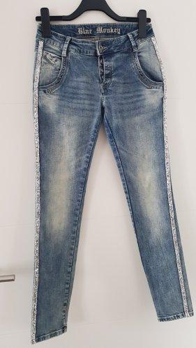 Blue Monkey Jeans stretch argenté-bleu pâle