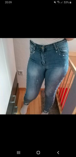 100 Pantalone di lana blu fiordaliso