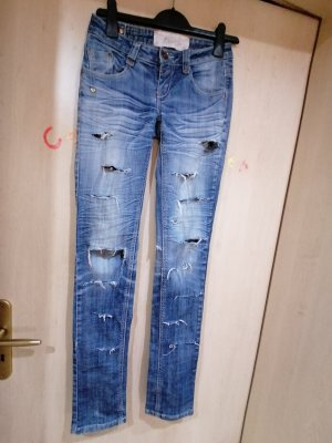 blue Spodnie z pięcioma kieszeniami błękitny-stalowy niebieski