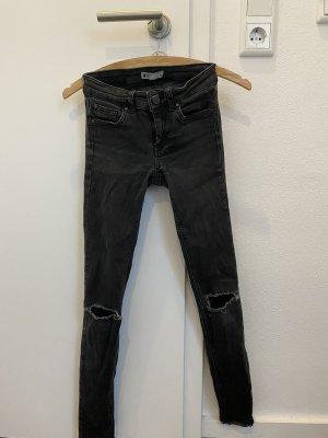 GinaTricot Pantalon taille basse gris-noir