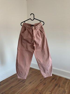 Zara Jeansy typu boyfriend różowy