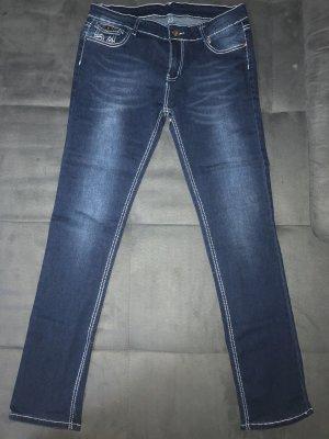AG Jeans Stretch broek donkerblauw-blauw