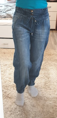 Workowate jeansy stalowy niebieski Bawełna
