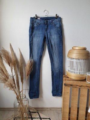 Jeanshose Jeans dark denim skinny low waist blau