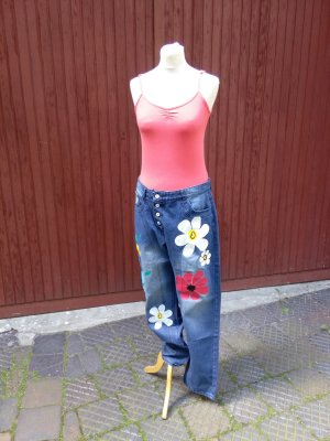 Jeanshose mit Blumen - Gr. L - neu!