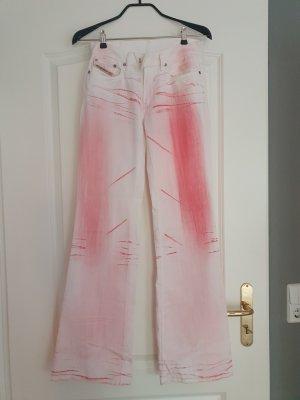 Diesel Pantalone a vita bassa bianco-rosa pallido