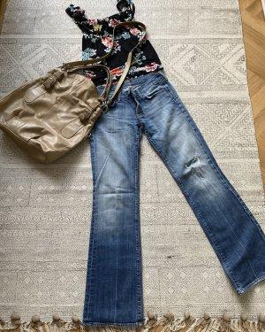 7 For All Mankind Jeansowe spodnie dzwony niebieski