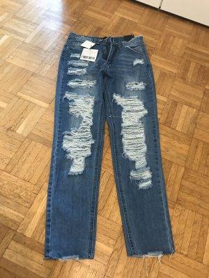 Missguided Jeans boyfriend bleuet-bleu acier