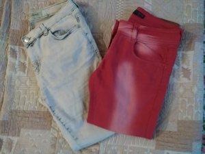 Pantalone a vita bassa bianco-rosso