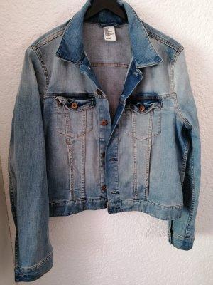 H&M Jeansowa kurtka niebieski-jasnoniebieski Bawełna