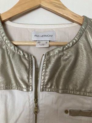 Amy Vermont Jeansowa kurtka biały-złoto