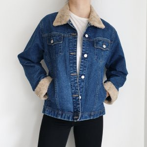 Jeansjacke Adessa Kunstfell Jeans jacke True vintage XL oversize Blau Mantel dunkelblau
